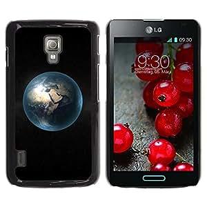 PC/Aluminum Funda Carcasa protectora para LG Optimus L7 II P710 / L7X P714 Blue Planet Earth Distance View Universe Dark / JUSTGO PHONE PROTECTOR