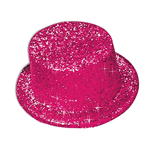 [Hot Pink Glitter Top Hat] (Pink Top Hats)