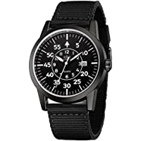 Men's All-Black Tactical Military Field Style Watches with Nato Canvas Band Calendar Date