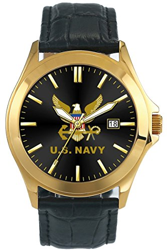 Aqua Force U.S. Navy Retro Mens Watch with Deluxe Padded Leather Strap (30M Water Resistant) Gold
