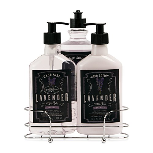 Liquid Soap and Lotion Kitchen Caddy: Tri Coastal Design Silver Wire Sink Basket Set - Lavender Vanilla Dish Soap, Hand Soap, and Lotion - 13.5 Fluid Ounces