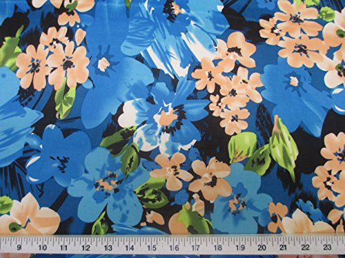 Discount Fabric Printed Jersey Knit ITY Stretch Bold Floral Turquoise and Black B401