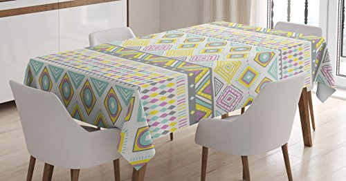 Tribal Tablecloth by Ambesonne, Geomeric Patterned Ethnic Chevron Coachella Inspired Image, Dining Room Kitchen Rectangular Table Cover, 60W X 90L Inches, White Violet Baby Blue and Grey