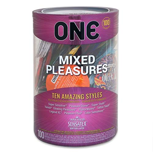 ONE Mixed Pleasures, Ten Assorted Premium Styles of Lubricated Latex Condoms-100 Count Display Bowl by ONE