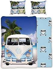 BERONAGE VW Volkswagen Bulli beddengoed Campervan lichtblauw 135 cm x 200 cm + 80 cm x 80 cm VW-Bus T1 100% katoen in renforcé-Linon-kwaliteit Camper Van Retro met ritssluiting 048