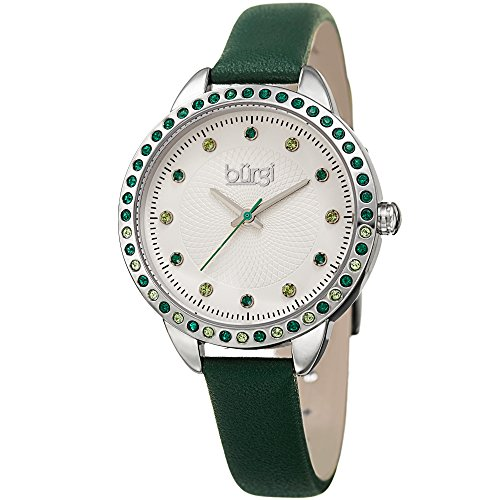 Burgi Women's Genuine Swarovski Crystal Accented White Dial and Silver-Tone Bezel with Green Genuine Leather Strap Watch (Colored Bezel Watch)