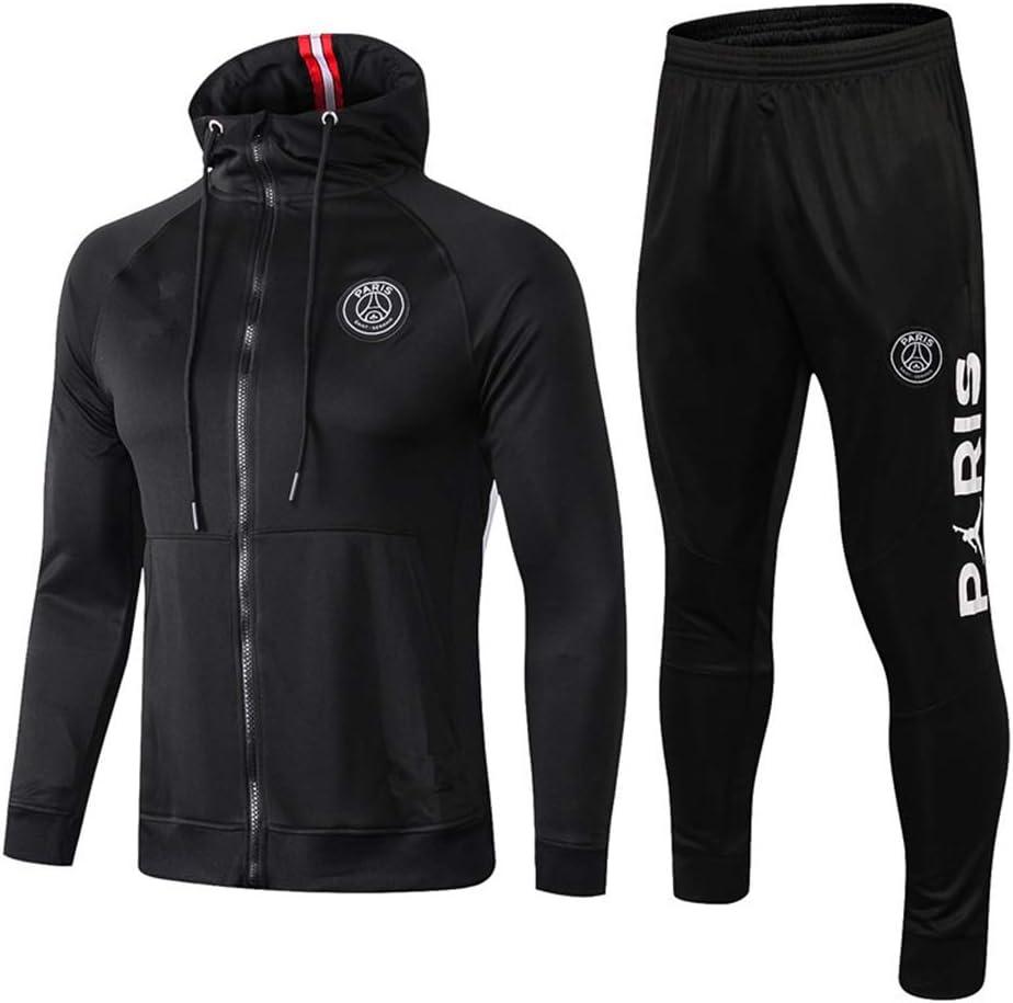 メンズ長袖フード付きフットボール制服スーツパリPSGサッカークラブトレーニングスーツ競技トレーナーアダルトスポーツウェアジャージー 黒 Medium