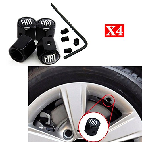 CHAMPLED NEW (4PC) FIAT LOGO METAL BLACK WHEEL TIRE AIR VALVE STEM CAPS DUST COVER by Champled (Image #1)