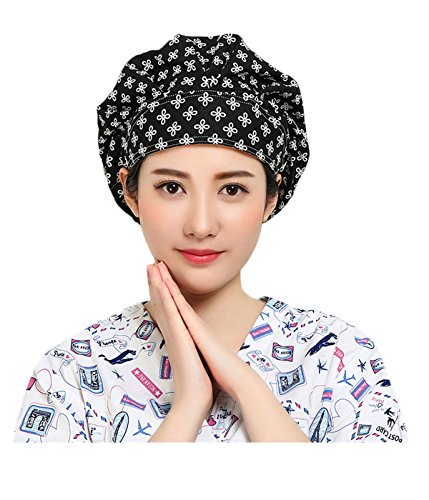 2 Womens Scrub Cap,Adjustable Beanie Cap 100% Cotton Sweatband Bouffant Hat