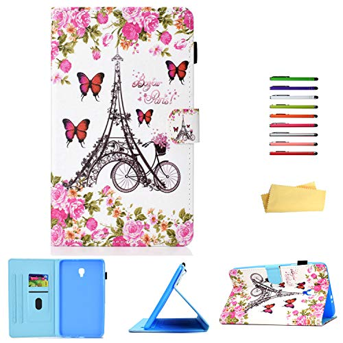 UUcovers Samsung Galaxy Tab A 8.0 2017 Case (SM-T380/T385), Stand Synthetic Leather TPU Back Cover with Auto Wake/Sleep [Card & Pencil Holder] for Samsung Galaxy Tab A 8.0 2017, Paris Flower Tower]()