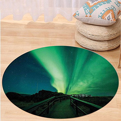 VROSELV Custom carpetNorthern Lights Wooden Bridge Solar Sky Scenic Radiant Rays Arctic Magic Scenery for Bedroom Living Room Dorm Fern Green Dark Blue Round 79 inches by VROSELV