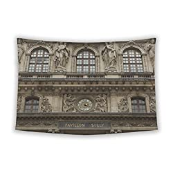 Gear New Wall Tapestry For Bedroom Hanging Art Decor College Dorm Bohemian, Renaissance Facades Of Louvre Museum In Paris France, 80x68