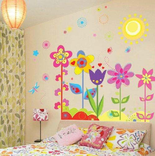 Cukudy Home Decorative Mural Vinyl Wall Sticker Pretty Kids Nursery Wall Art Decal Paper Sun Flowers ()