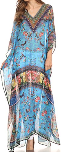 Sakkas SS1622 KF28035A - LongKaftan Wilder Printed Design Long Semi Sheer Caftan Dress/Cover Up - Turq Bright Green/Multi - (Traditional Chic Green)
