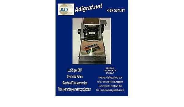 100 hojas A4 acetato transparente OHP) para impresoras y ...