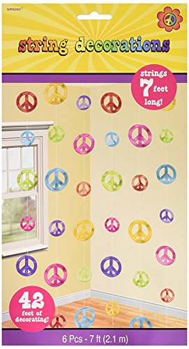 Amscan Groovy 60's Party Colorful Peace Sign String Decorations, Paper, 7 Feet (18 Pack)