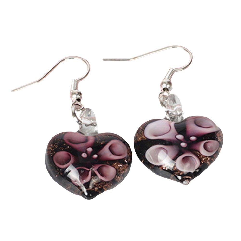 Wintefei Love Heart Shape Colored Glaze Pendant Flower Embedded Earrings Women Ear Hooks - Purple