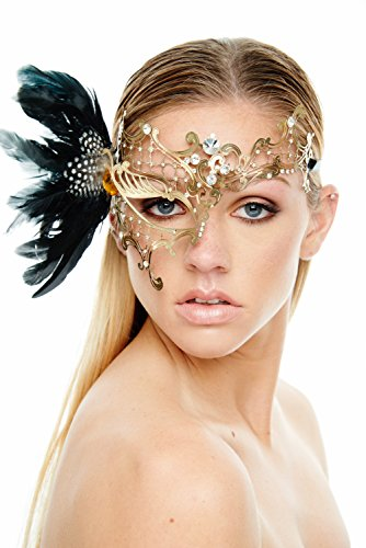 [Coquettish Gold Masquerade Mask with Black Feathers and Clear Rhinestones (Unisex One Size)] (Rhinestone Masquerade Mask)
