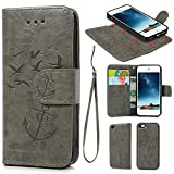 iPhone 5 5S SE Case, iPhone 5 5S SE Wallet Case Premium Synthetic PU Leather Embossed Oil Wax Seagull Anchor Detachable Wallet with Credit Card Cash Slots for iPhone 5 5S SE Gray