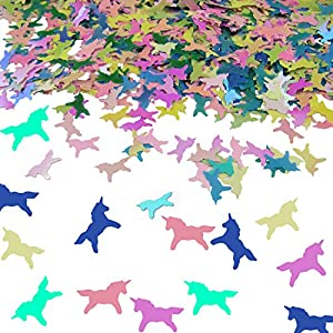 Rainbow Unicorn Confetti 1,500 PCS (50 Grams) - iridescent Pastel Table Scatter for Kids Children Themed Birthday, Event, Party Favor Goodie Bags, Magical Sprinkle Decorations Gift Mermaid
