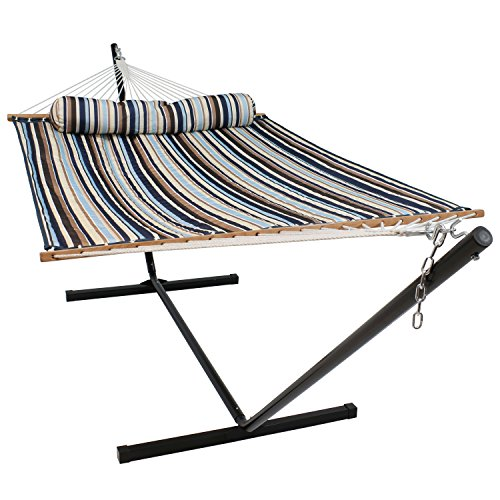 Sunnydaze Quilted Fabric Hammock Two Person with 12-Foot Stand and Spreader Bars, Freestanding Outdoor Heavy Duty 350 Pound Capacity, Ocean Isle (Quilted Fabric Large Hammock)