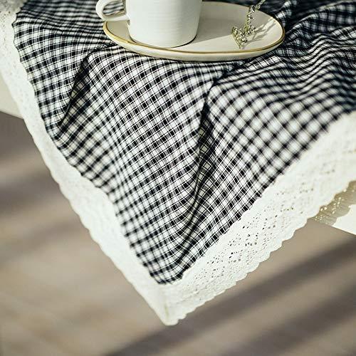 noir 100×150cm HBJP Coton Et Lin Nappe Durable Tapis De Table Basse Tailleur Rectangulaire voitureré pour Ménage (Couleur   noir, Taille   100×150cm)