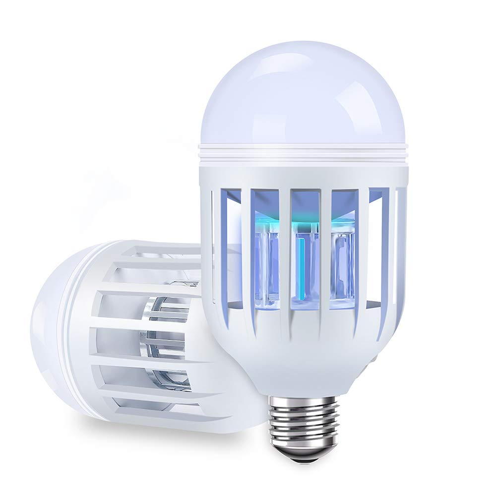 Two-pack Bug Zapper Light Bulbs, Mosquito Killer Lamp, Electronic Insect & Fly Killer - Built in Insect Trap, Fits in 110V E26/E27 Light Bulb Socket for Indoor Outdoor Porch Patio Backyard etc