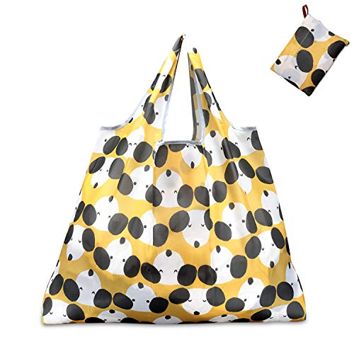 KINGMAS Reusable Grocery Bags, Eco-Friendly Folding Tote Shopping Bag fits in Pocket, Washable Waterproof Nylon holds Heavy Groceries Pouch Bags (Dog)