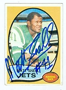 Autograph Warehouse 104591 Matt Snell Autographed Football Card New York Jets 1970 Topps No. 35