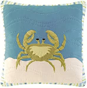 Coastal Nautical Crab Hooked Wool Accent Throw Pillow Home Kitchen Amazon Com