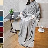 PAVILIA Deluxe Fleece Blanket with Sleeves for Adult