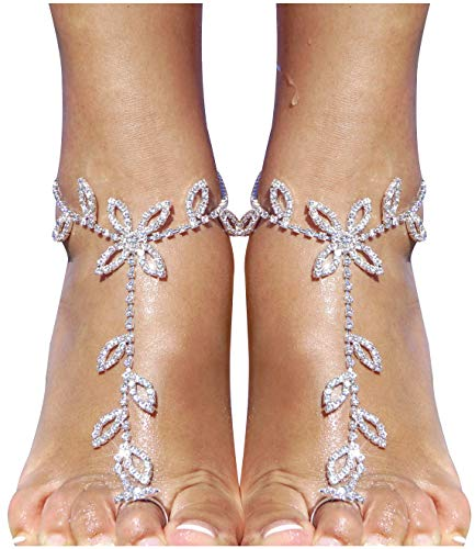 - 2 Pieces Women's Foot Chain Barefoot Sandals Beach Wedding Jewelry Anklet with Rhinestone Toe Ring
