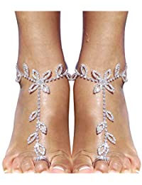 2 Pieces Women's Foot Chain Barefoot Sandals Beach Wedding Jewelry Anklet with Rhinestone Toe Ring