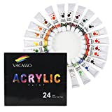 Arts & Crafts : VACASSO Acrylic Paint Set Tube, 24x12ml Colors, Perfect for Painting Canvas, Wood, Clay, Fabric, Ceramic & Crafts, Non-Toxic & Quick Dry, Great For Beginners, Students & Adults (24 Tube Set)
