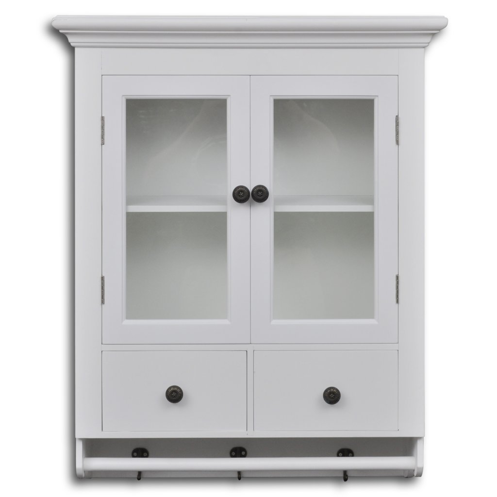 Elbmbel Wall Cupboard With Glass Doors Wooden Country Style