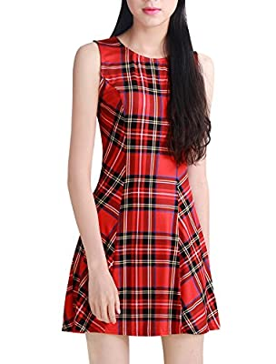 Allegra K Women's Vintage Round Neck A Line Mini Sleeveless Plaid Dress