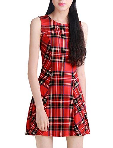 Allegra K Women's Vintage Round Neck A Line Mini Sleeveless Plaid Dress Red - Plaid Dress Sleeveless