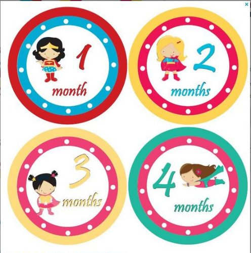 Girl Monthly Stickers Monthly Baby Girl Baby Month Stickers Baby Monthly Stickers Polka Girl Superhero Monthly Stickers Supergirl Stickers Wonderwoman Supergirl Waterproof proof Baby Shower Gift ()
