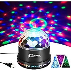 Disco Ball Lights, SOLMORE 12W Sound Actived RGB LED Party Lights Stage DJ Lights Strobe Light Crystal Magic Rotating Light for KTV Party Wedding Home Show Club Pub Decor AC85V-260V