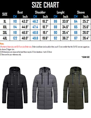Large Outerwear Warm Winter fit BESBOMIG Slim Down for Coats Size Thick Cotton Mens Outdoor Hooded Black Jacket Casual Youth xSaAgOq