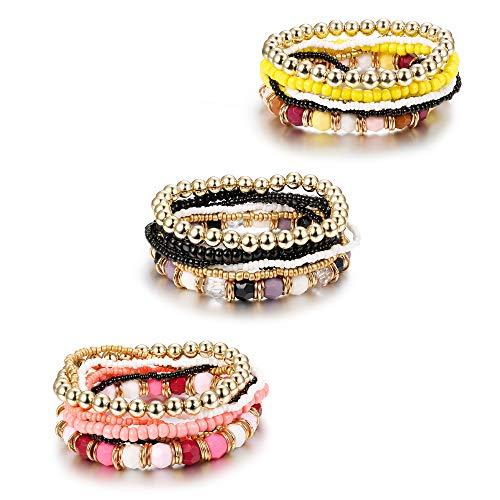 FUNRUN JEWELRY 3 Sets Stretch Bead Bracelets for Women Girls Multilayer Stackable Bracelet Set Bohemian