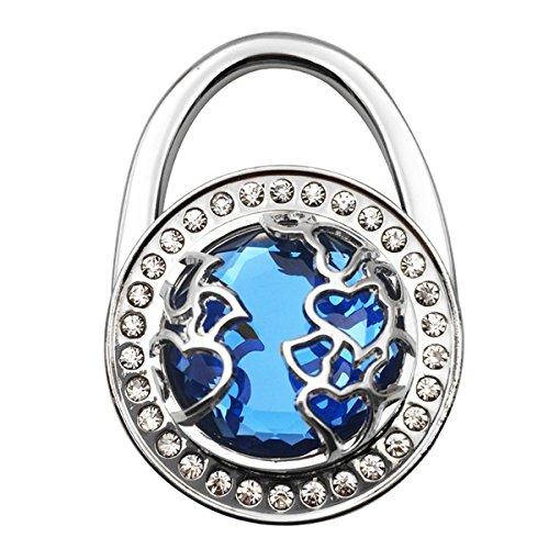 Handbag Hangers Hook Holder for Table Desk, Aprilday Lightweight Heart Cut-out Crystal Diamond Foldable Shoulder Handbag Purse Instant Bag Hanger Held Hooks Holder Storage for Women Girls(Blue)
