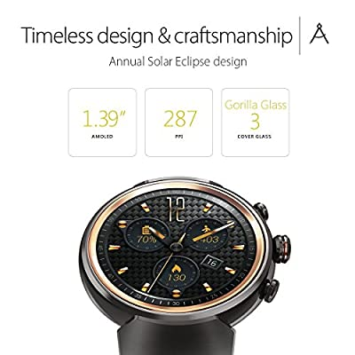 ASUS ZenWatch 3 WI503Q-GL-DB 1.39-inch AMOLED Smart Watch with dark brown leather strap (Renewed)