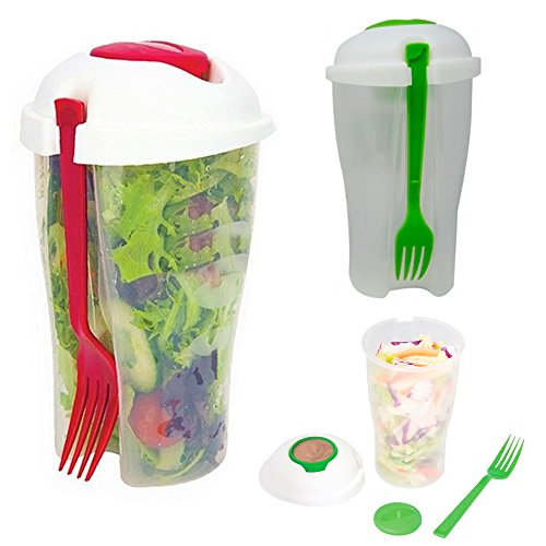 ATB 2 Salad Cup Container Serving Shaker Dressing Storage Fork Fruit Food On The Go