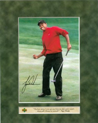 Tiger Woods Sports Memorabilia - Sports Memorabilia Tiger Woods 8x10 Photo (Golf) Upper Deck with Facsimile Signature - Golf Plaques and Collages