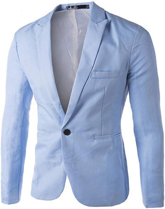 Bestow Charm Casual Slim Fit un botón Traje Blazer Abrigo Chaqueta Tops Hombres Moda Sudadera Abrigo suéter Chaleco