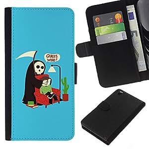 KingStore / Leather Etui en cuir / HTC DESIRE 816 / Adivina quién cotización Muerte Parodia Humor Arte