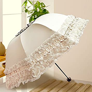 KPHY-Sombrilla, paraguas princesa, todo tipo de clima diosa UV SUNSCREEN encaje bordado