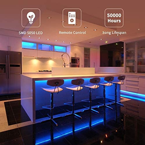 Led Strip Lights, Govee 16.4Ft Waterproof RGB Light Strip Kits with Remote for Room, Bedroom, TV, Kitchen, Desk, Color Changing Led Strip SMD5050 with 3M Adhesive and Clips, 12V Power Supply 2