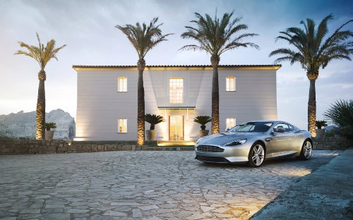 Martin Coupe Aston Db9 (Aston Martin DB9 Coupé (2012) Car Art Poster Print on 10 mil Archival Satin Paper Silver Front Side Static View 16